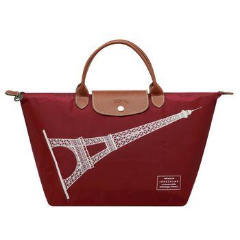 LONGCHAMP 巴黎鐵塔紀念款拉鍊摺疊短把購物包(中-酒紅)