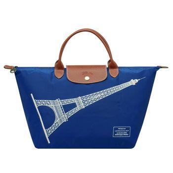 LONGCHAMP 巴黎鐵塔紀念款拉鍊摺疊短把購物包(中-藍色)