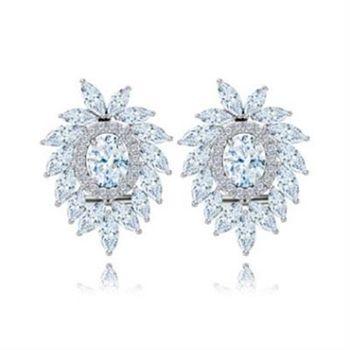 【米蘭精品】純銀耳環鍍白金鑲鑽耳飾時尚高檔性感魅力73cr387