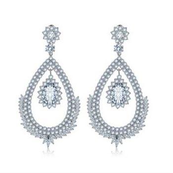 【米蘭精品】純銀耳環鍍白金鑲鑽耳飾時尚奢華耀眼焦點73cr388