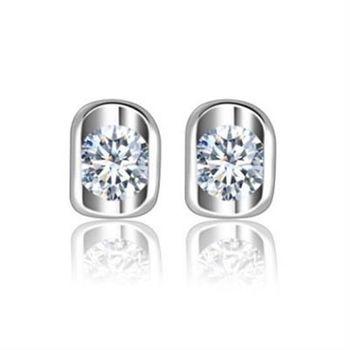 【米蘭精品】純銀耳環鍍白金鑲鑽耳飾耀眼迷人璀璨設計73cr398