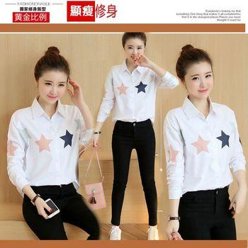 【STONEY.AX】2016韓版新款寬鬆翻領印花顯瘦短版長袖襯衫