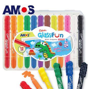 【BabyTiger虎兒寶】韓國 AMOS 多功能玻璃蠟筆 - 12 色