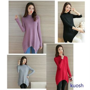 【KUOSH】韓版不規則針織之3/4領毛衣(PT10517)