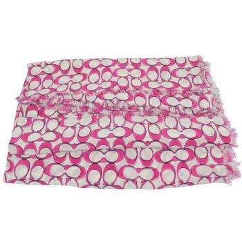 COACH 85768 時尚配件經典LOGO披肩絲質圍巾.白/桃紅