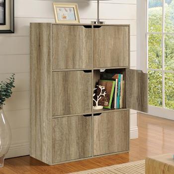 【咱的厝】DIY布魯斯六門櫃/書櫃/置物櫃/收納櫃 (深橡色)