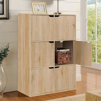 【咱的厝】DIY布魯斯六門櫃/書櫃/置物櫃/收納櫃 (淺橡色)