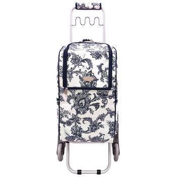 卡蘿輕便時尚購物車-36L波浪三輪-青花瓷 (可上下樓梯)