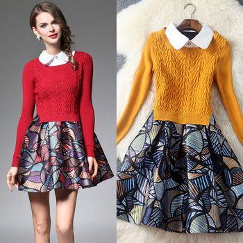 【M2M】翻領印花背心裙短版針織衫兩件套(共二色)
