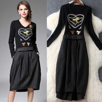 【M2M】V領重工刺繡針織拼接條紋燈籠裙洋裝