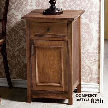 CiS自然行實木家具 收納櫃-原木床頭櫃-矮櫃(咖啡胡桃)