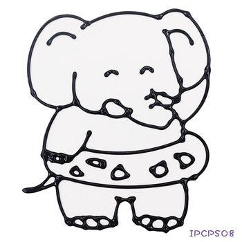 【BabyTiger虎兒寶】愛玩色 兒童無毒彩繪玻璃貼- 小張圖卡 - 大象 ipcpS08 -台灣製