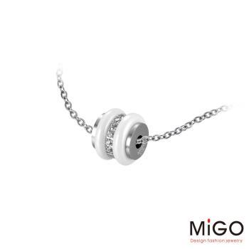 MiGO 燦爛施華洛世奇美鑽/白鋼項鍊-小(白)