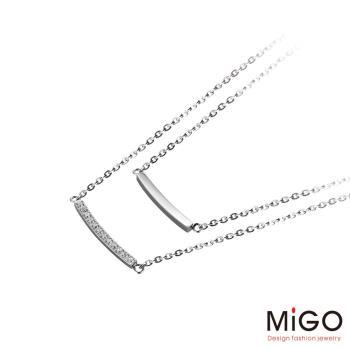 MiGO 甜蜜的愛施華洛世奇美鑽/白鋼項鍊