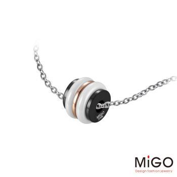 MiGO 閃耀施華洛世奇美鑽/白鋼項鍊(黑)