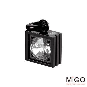 MiGO 星鑽施華洛世奇美鑽/白鋼項鍊(黑)