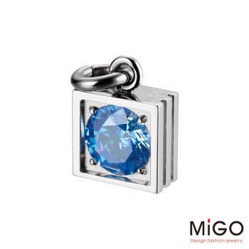 MiGO 星鑽施華洛世奇美鑽/白鋼項鍊(藍)