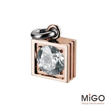 MiGO 星鑽施華洛世奇美鑽/白鋼項鍊(玫瑰金)