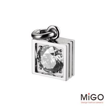 MiGO 星鑽施華洛世奇美鑽/白鋼項鍊(白)