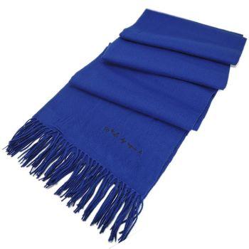 agnes b TO b素面針織流蘇圍巾/披巾(藍)