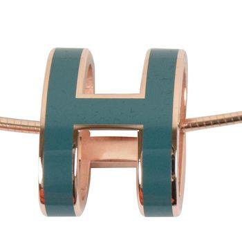 HERMES 時尚配件經典H LOGO橢圓銀飾項鍊.銀/深綠