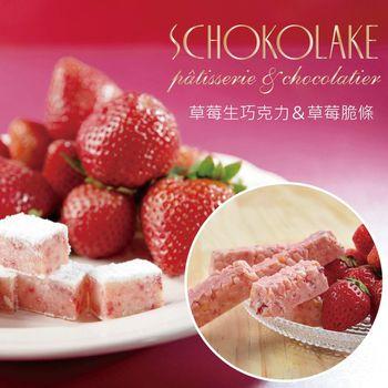【巧克力雲莊】草莓生巧克力+草莓脆條14入各一盒(經典人氣商品)