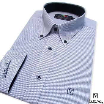 Valentino Rudy范倫鐵諾.路迪 -長袖襯衫-藍格紋-釘釦領
