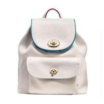 COACH 專櫃款 全皮荔枝紋旋扣式配色雙肩後背包-白色/小