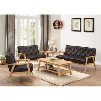 【AT HOME】提爾本色1+2+3組合黑皮沙發
