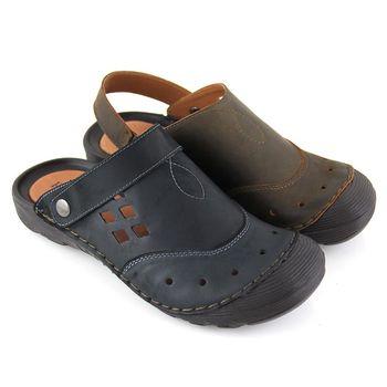 【GREEN PHOENIX】RED ANT幾何鏤空臘感牛皮兩穿前包涼拖鞋(男鞋)-咖啡色、深藍色