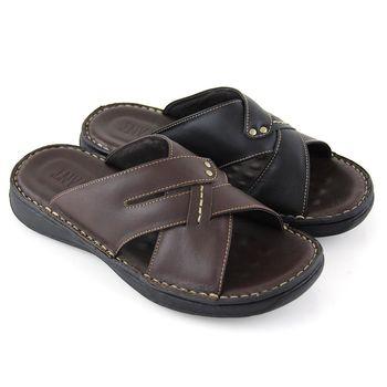 【GREEN PHOENIX】寬版交叉鏤空釘扣全真皮平底拖鞋(男鞋)-咖啡色、黑色