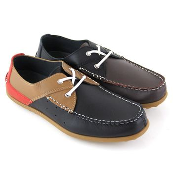 【GREEN PHOENIX】經典雙彩撞色綁帶全真皮平底帆船鞋(男鞋)-咖啡色、黑色