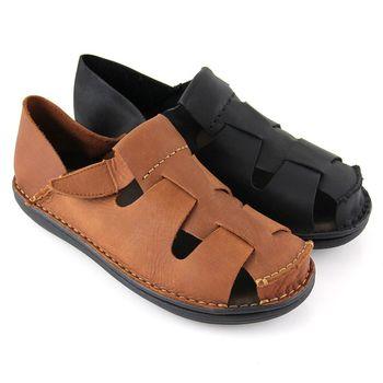 【GREEN PHOENIX】寬版鏤空沾黏式全真皮兩穿平底休閒鞋(男鞋)-棕色、黑色