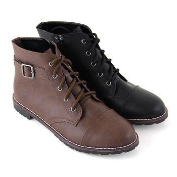 【Pretty】個性綁帶側拉鍊平底短靴-咖啡色、黑色