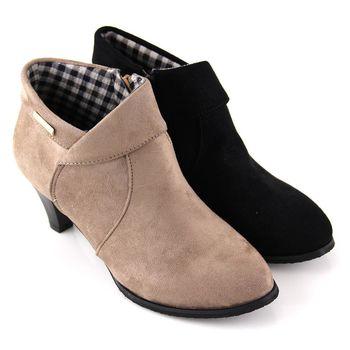 【Pretty】輕熟反摺側拉鍊高跟踝靴-芋色、黑色