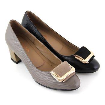 【GREEN PHOENIX】皮革立體方型金屬全真皮粗跟包鞋-灰色、黑色