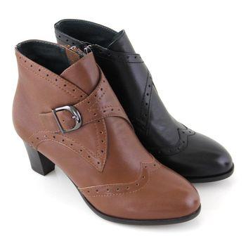 【GREEN PHOENIX】雷射孔洞金屬扣全真皮粗中跟踝靴-棕色、黑色