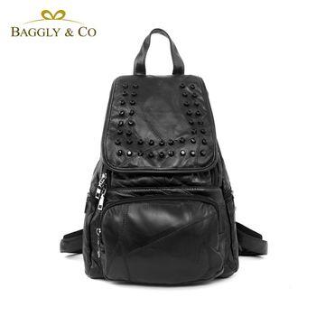 【BAGGLY&CO】亮感羊皮拼接鉚釘後背包(二色)