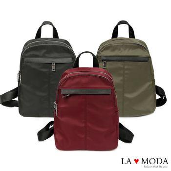 La Moda 模特街頭穿搭必備十字紋真皮牛皮配尼龍布防潑水後背包 (共3色)