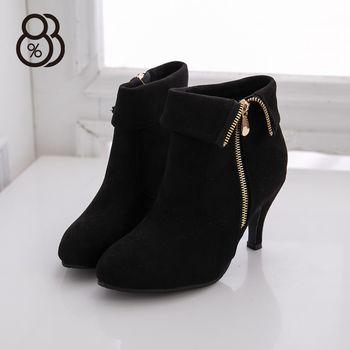 【88%】絨布金屬側拉鍊 8.5CM高跟短靴裸靴 高跟 黑