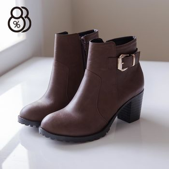 【88%】MIT台灣製 韓版時尚皮革 拉鍊粗高跟金屬短靴 機車靴 2色