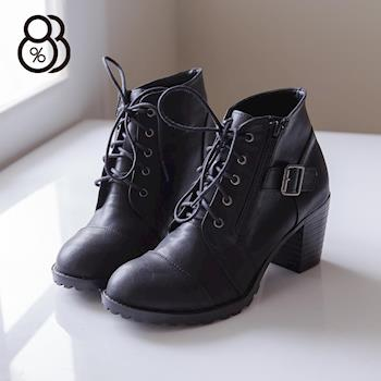 【88%】MIT台灣製 韓版皮革 繫帶拉鍊 粗高跟 短靴 2色