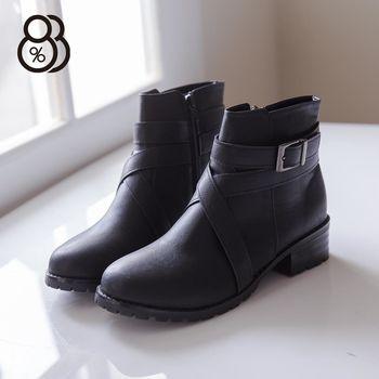 【88%】MIT台灣製 金屬扣環交叉皮革 拉鍊低粗跟短靴  機車靴  2色