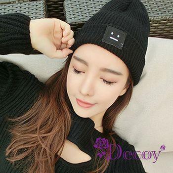 【Decoy】方塊表情*反折編織毛線帽/黑