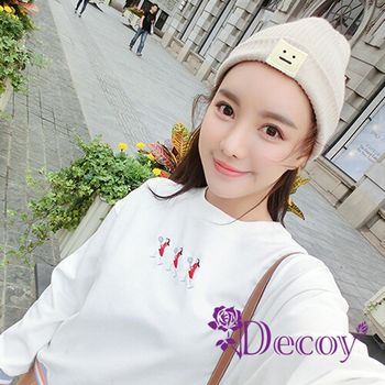 【Decoy】方塊表情*反折編織毛線帽/米
