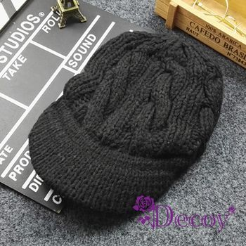 【Decoy】棒球鴨舌*加厚編織毛線帽/黑