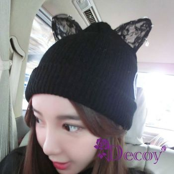 【Decoy】閃鑽貓耳*加厚編織毛線帽/黑