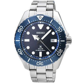 SEIKO 精工 PROSPEX 鈦金屬太陽能潛水錶-藍 / SBDJ011