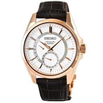 SEIKO精工 PRESAGE 機械皮帶腕錶-玫瑰金白面 / SARW004