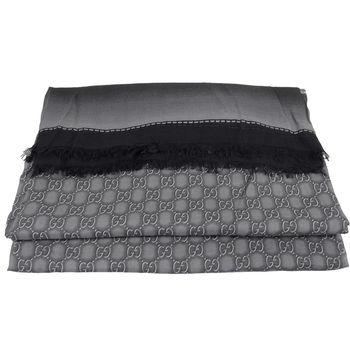 GUCCI 427258 經典雙G緹花羊毛漸層暈染披肩圍巾.黑灰